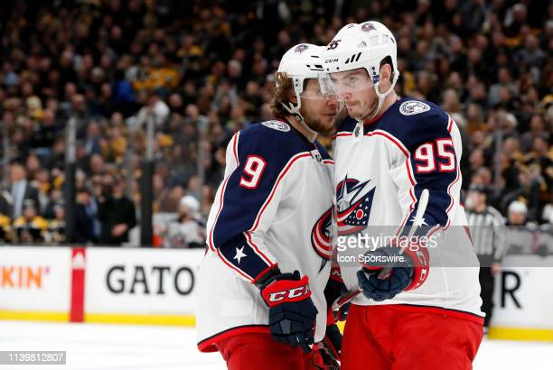 Columbus Blue Jackets left wing Artemi Panarin and Columbus Blue Jackets center Matt Duchene discuss a face off during Game 2 of the Second Round...