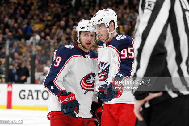 Columbus Blue Jackets left wing Artemi Panarin and Columbus Blue Jackets center Matt Duchene discuss a face off in the offensive zone during Game 2...