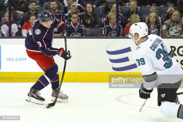 Columbus Blue Jackets left wing Artemi Panarin attempts a shot on goal in the first period of a game between the Columbus Blue Jackets and the San...