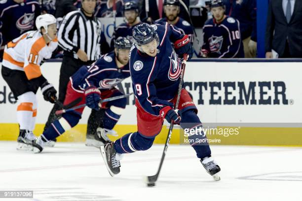 Columbus Blue Jackets left wing Artemi Panarin attempts a shot on goal in the first period of a game between the Columbus Blue Jackets and the...