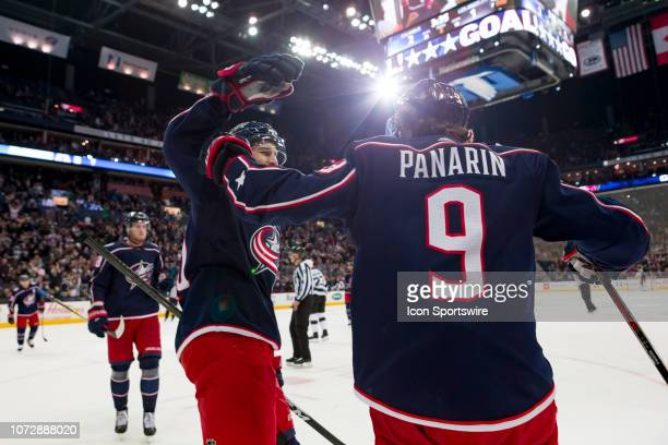 Columbus Blue Jackets left wing Artemi Panarin celebrates after scoring a goal in a game between the Columbus Blue Jackets and the Los Angeles Kings...