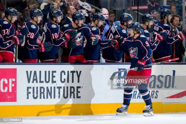 Columbus Blue Jackets left wing Artemi Panarin celebrates with teammates after scoring a goal in a game between the Columbus Blue Jackets and the Los...