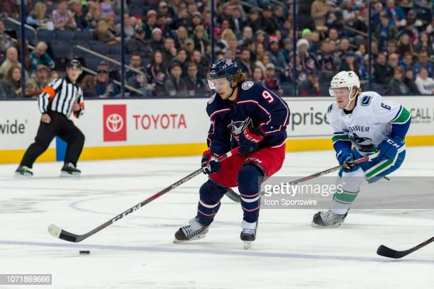 Columbus Blue Jackets left wing Artemi Panarin controls the puck in a game between the Columbus Blue Jackets and the Vancouver Canucks on December 11...