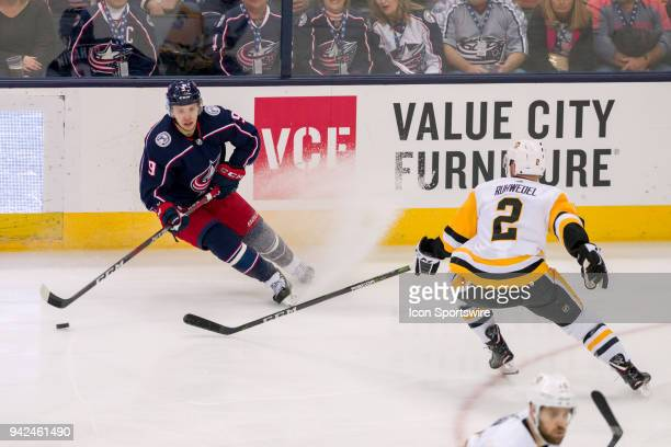Columbus Blue Jackets left wing Artemi Panarin controls the puck in the first period of a game between the Columbus Blue Jackets and the Pittsburgh...