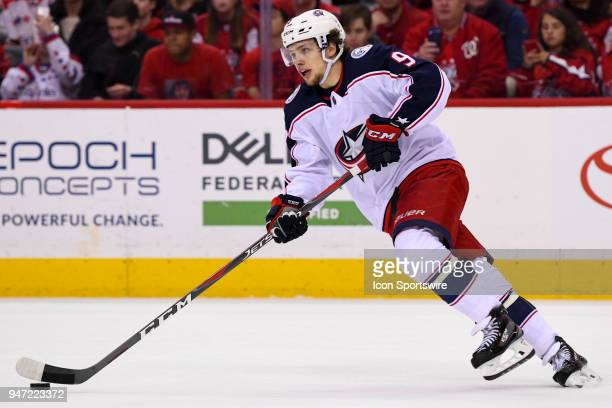 Columbus Blue Jackets left wing Artemi Panarin skates in the first period against the Washington Capitals on April 15 at the Capital One Arena in...