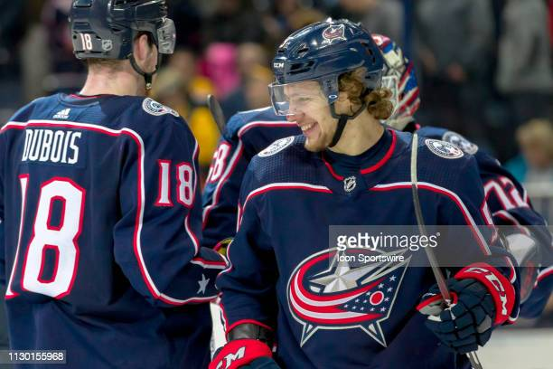 Columbus Blue Jackets left wing Artemi Panarin smiles after winning a game between the Columbus Blue Jackets and the Boston Bruins on March 12 2019...