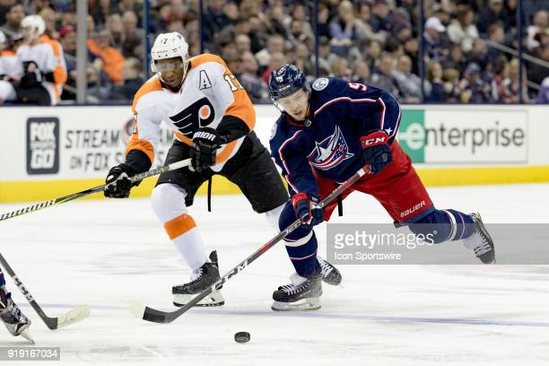 Columbus Blue Jackets left wing Artemi Panarin sprints for the puck in a game between the Columbus Blue Jackets and the Philadelphia Flyers on...