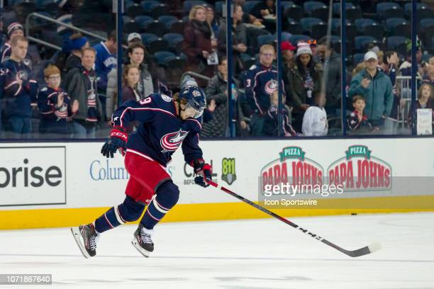 Columbus Blue Jackets left wing Artemi Panarin sprints off the ice before a game between the Columbus Blue Jackets and the Vancouver Canucks on...