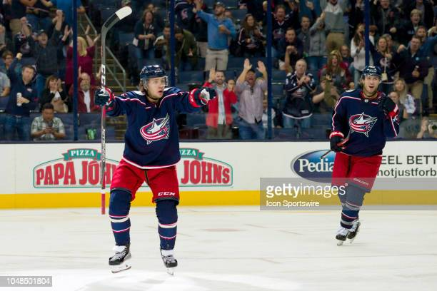 Columbus Blue Jackets left wing Artemi Panarin waits to see that he scored a goal in the third period of a game between the Columbus Blue Jackets and...