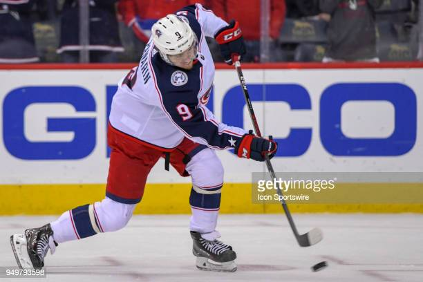 Columbus Blue Jackets left wing Artemi Panarin warms up prior to the game against the Washington Capitals on April 21 at the Capital One Arena in...