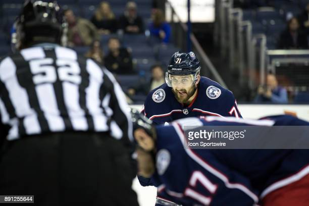 Columbus Blue Jackets left wing Nick Foligno awaits the faceoff during the third period in a game between the Columbus Blue Jackets and the Edmonton...