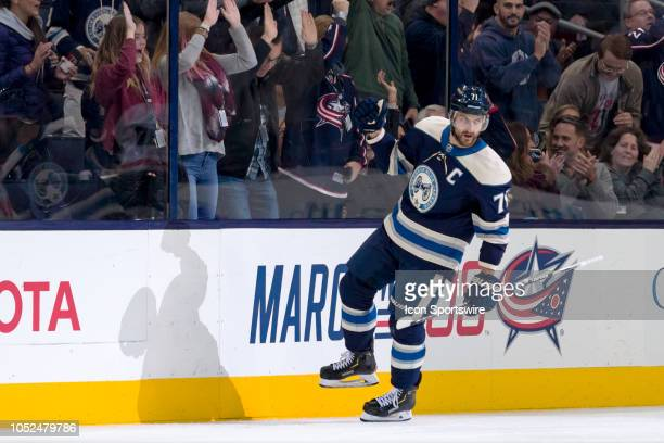 Columbus Blue Jackets left wing Nick Foligno celebrates after scoring a goal in the second period of a game between the Columbus Blue Jackets and the...