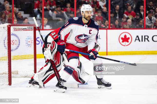 Columbus Blue Jackets left wing Nick Foligno sets up in front of the Ottawa Senators net during first period National Hockey League action between...