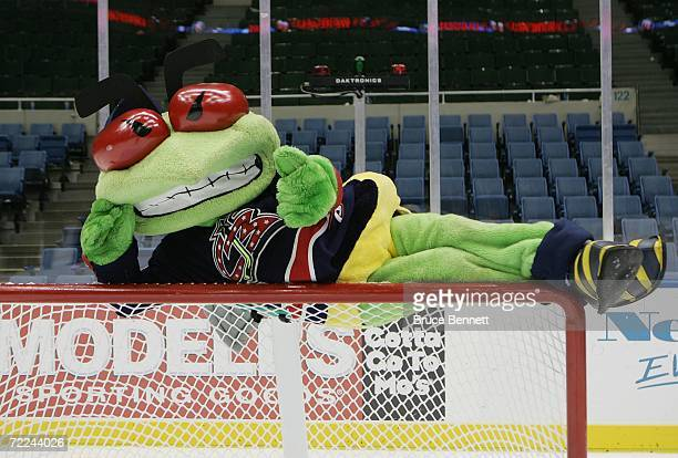 Columbus Blue Jackets mascot Stinger poses for a portrait on October 21, 2006 at the Nassau Coliseum in Uniondale, New York.
