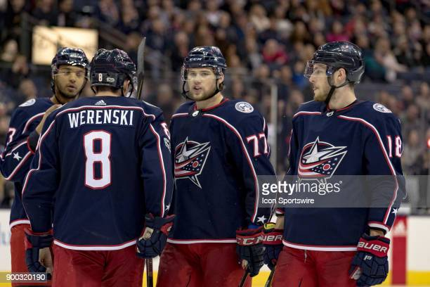 Columbus Blue Jackets right wing Josh Anderson and Columbus Blue Jackets defenseman Zach Werenski chat during the third period in a game between the...
