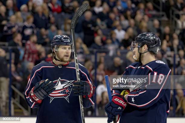 Columbus Blue Jackets right wing Josh Anderson and Columbus Blue Jackets center PierreLuc Dubois chat during the third period in a game between the...