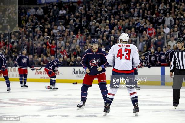 Columbus Blue Jackets right wing Josh Anderson and Washington Capitals right wing Tom Wilson square up for a fight in the first period of a game...