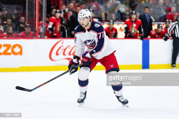 Columbus Blue Jackets Right Wing Josh Anderson applies pressure on the forecheck during first period National Hockey League action between the...