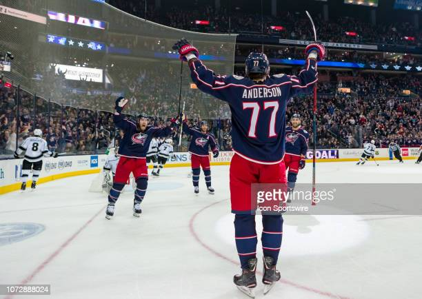 Columbus Blue Jackets right wing Josh Anderson celebrates after scoring a goal in a game between the Columbus Blue Jackets and the Los Angeles Kings...