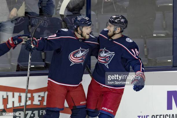 Columbus Blue Jackets right wing Josh Anderson celebrates with Columbus Blue Jackets center PierreLuc Dubois after scoring a goal during a game...