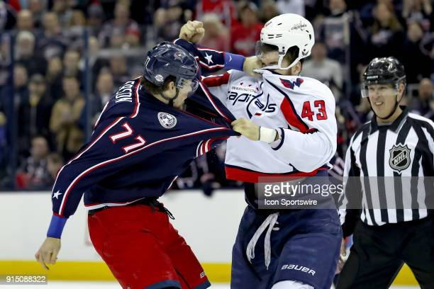 Columbus Blue Jackets right wing Josh Anderson connects a punch to the face of Washington Capitals right wing Tom Wilson in the first period of a...