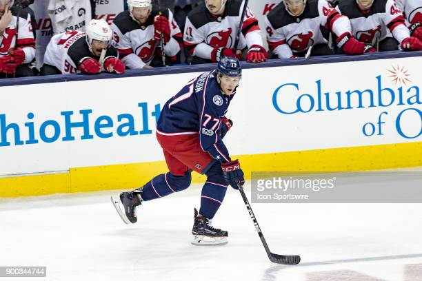 Columbus Blue Jackets right wing Josh Anderson controls the puck during a game between the Columbus Blue Jackets and the New Jersey Devils on...