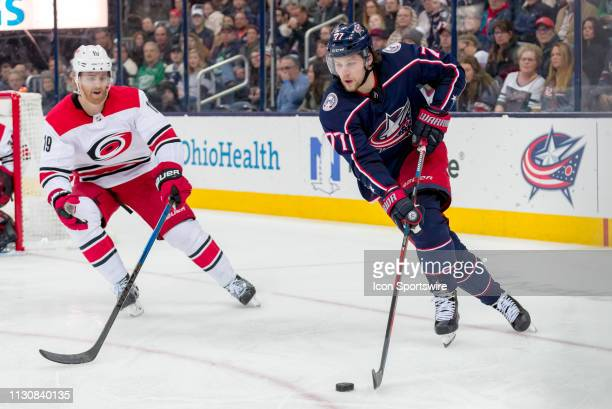 Columbus Blue Jackets right wing Josh Anderson controls the puck in a game between the Columbus Blue Jackets and the Carolina Hurricanes on March 15...