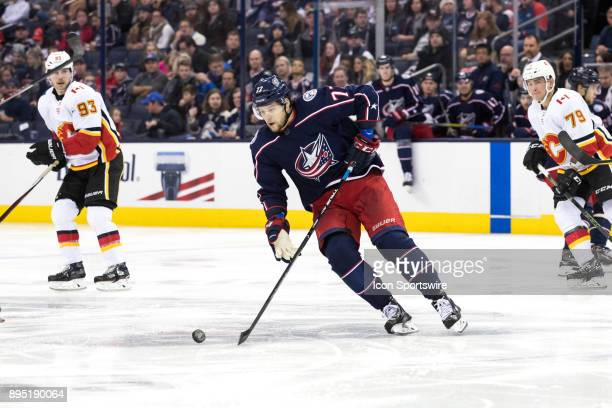 Columbus Blue Jackets right wing Josh Anderson controls the puck in the second period of a game between the Columbus Blue Jackets and the Calgary...