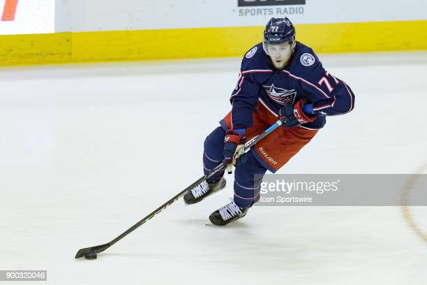 Columbus Blue Jackets right wing Josh Anderson controls the puck during the first period in a game between the Columbus Blue Jackets and the Anaheim...