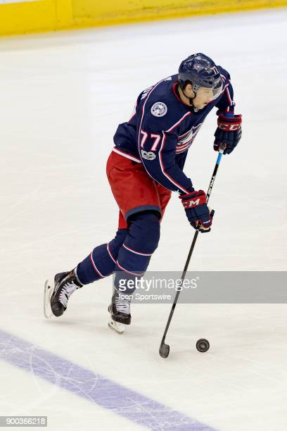 Columbus Blue Jackets right wing Josh Anderson controls the puck during the first period in a game between the Columbus Blue Jackets and the Arizona...