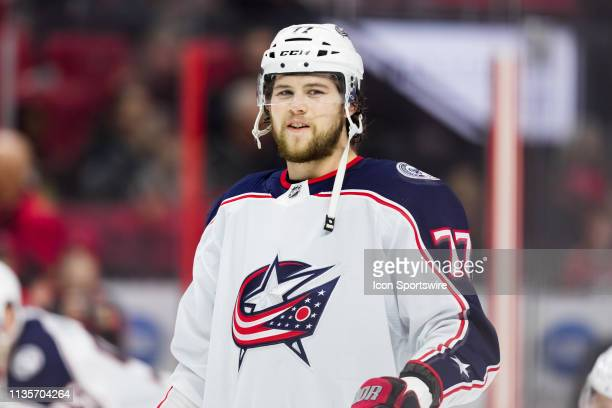 Columbus Blue Jackets Right Wing Josh Anderson during warmup before National Hockey League action between the Columbus Blue Jackets and Ottawa...