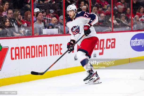 Columbus Blue Jackets Right Wing Josh Anderson keeps eyes on the play along the boards during first period National Hockey League action between the...
