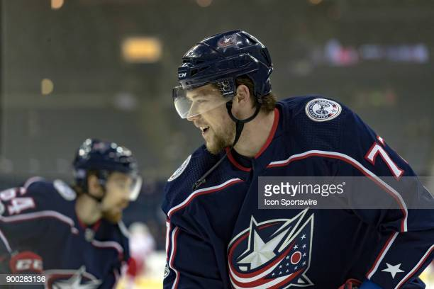 Columbus Blue Jackets right wing Josh Anderson looks on before a game between the Columbus Blue Jackets and the Carolina Hurricanes on November 28 at...