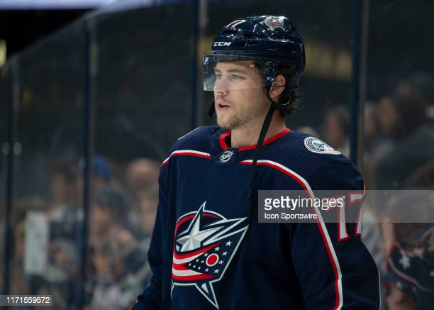 Columbus Blue Jackets right wing Josh Anderson looks on during warmups the preseason game between the Columbus Blue Jackets and the New Jersey Devils...