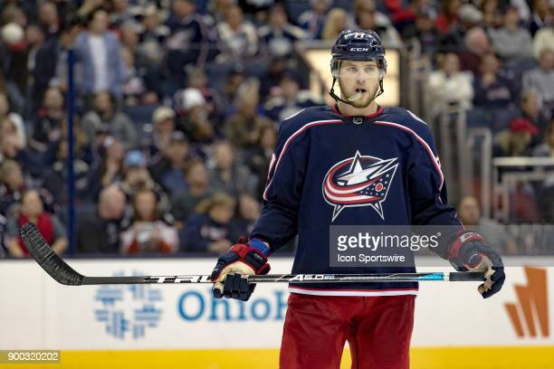 Columbus Blue Jackets right wing Josh Anderson looks on during the third period in a game between the Columbus Blue Jackets and the Anaheim Ducks on...