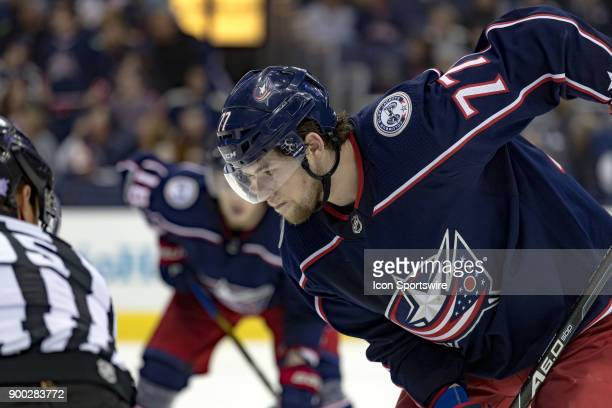 Columbus Blue Jackets right wing Josh Anderson preps for a faceoff during a game between the Columbus Blue Jackets and the Carolina Hurricanes on...