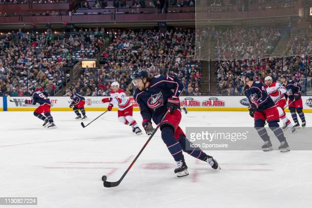 Columbus Blue Jackets right wing Josh Anderson pushes the puck up the ice in a game between the Columbus Blue Jackets and the Carolina Hurricanes on...