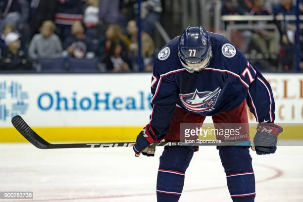 Columbus Blue Jackets right wing Josh Anderson rests during a game between the Columbus Blue Jackets and the Carolina Hurricanes on November 28 at...