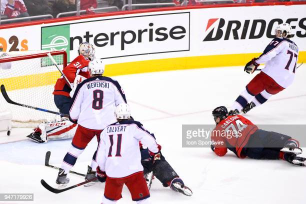 Columbus Blue Jackets right wing Josh Anderson scores in the second period against Washington Capitals goaltender Philipp Grubauer on April 15 at the...
