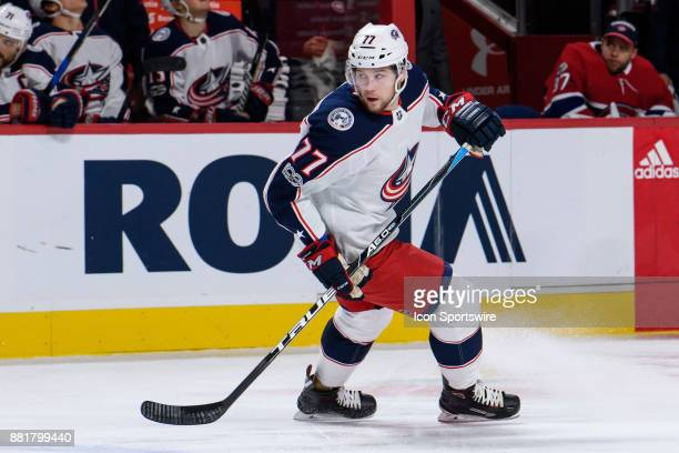 Columbus Blue Jackets right wing Josh Anderson skates during the first period of the NHL game between the Columbus Blue Jackets and the Montreal...