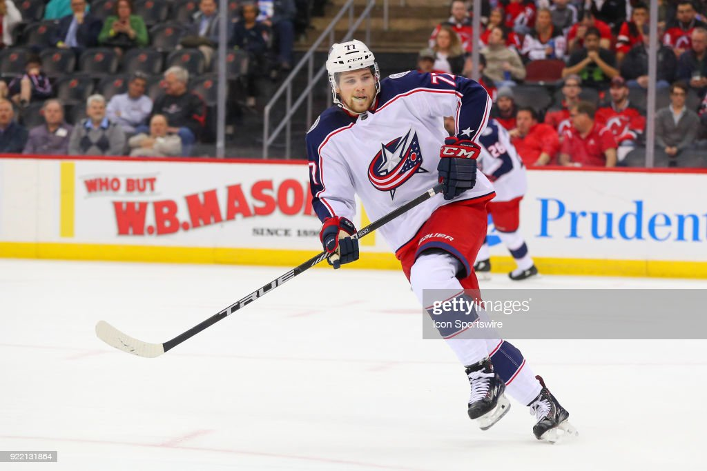 Columbus Blue Jackets right wing Josh Anderson (77) skates during the first period of the National Hockey League game between the New Jersey Devils and the Columbus Blue Jackets on February 20, 2018, at the Prudential Center in Newark, NJ.