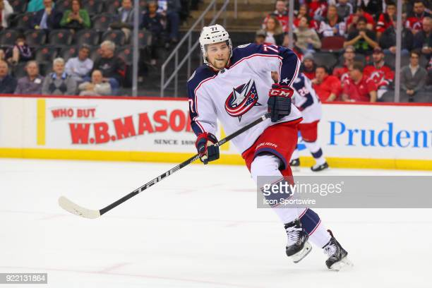 Columbus Blue Jackets right wing Josh Anderson skates during the first period of the National Hockey League game between the New Jersey Devils and...