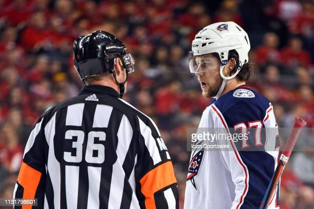 Columbus Blue Jackets Right Wing Josh Anderson talks to a referee during the first period of an NHL game where the Calgary Flames hosted the Columbus...