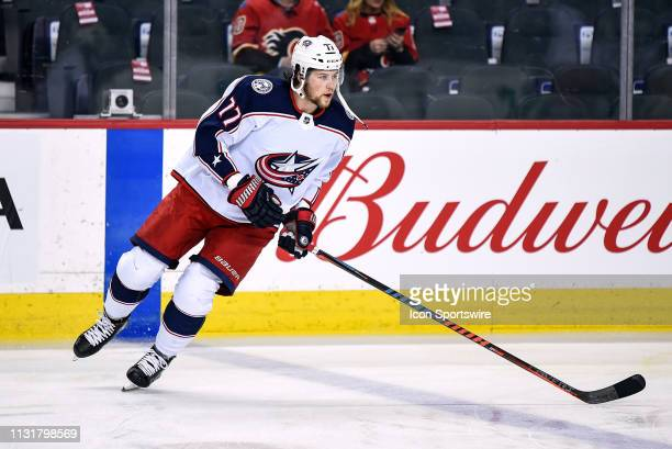 Columbus Blue Jackets Right Wing Josh Anderson warms up before an NHL game where the Calgary Flames hosted the Columbus Blue Jackets on March 19 at...