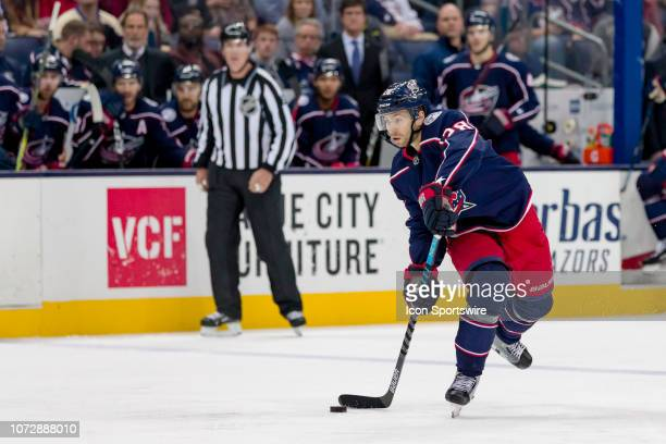 Columbus Blue Jackets right wing Oliver Bjorkstrand attempts a shot in a game between the Columbus Blue Jackets and the Los Angeles Kings on December...