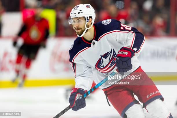 Columbus Blue Jackets Right Wing Oliver Bjorkstrand during warmup before National Hockey League action between the Columbus Blue Jackets and Ottawa...