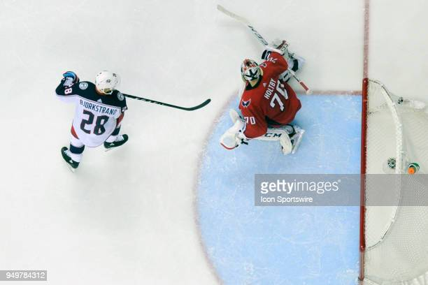 Columbus Blue Jackets right wing Oliver Bjorkstrand ties the scores in the third period with a goal against Washington Capitals goaltender Braden...