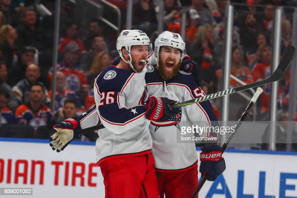 Columbus Blue Jackets Right Wing Thomas Vanek celebrates the sixth goal with Columbus Blue Jackets Defenceman David Savard in the second period...