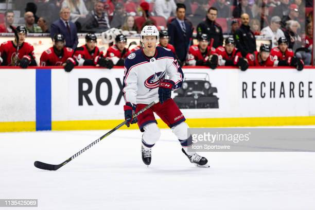 Columbus Blue Jackets Winger Riley Nash applies pressure on the forecheck during first period National Hockey League action between the Columbus Blue...