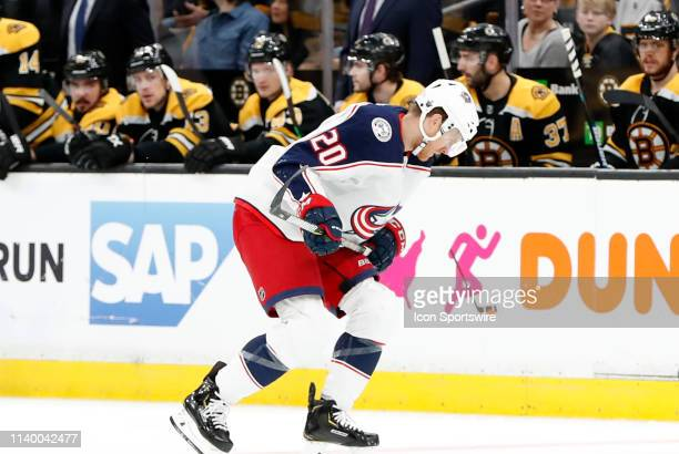 Columbus Blue Jackets winger Riley Nash struggles to the bench during Game 2 of the Second Round 2019 Stanley Cup Playoffs between the Boston Bruins...